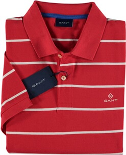 Herren Polo Shirt GANT Polo-Shirt Breton Stripe Pique SS Rugger bright red