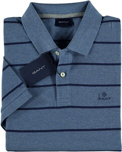 Herren Polo Shirt GANT Breton Stripe Pique SS Rugger denim blue mel