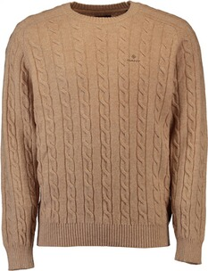GANT Lambswool Pullover mit Zopfmuster khaki mel