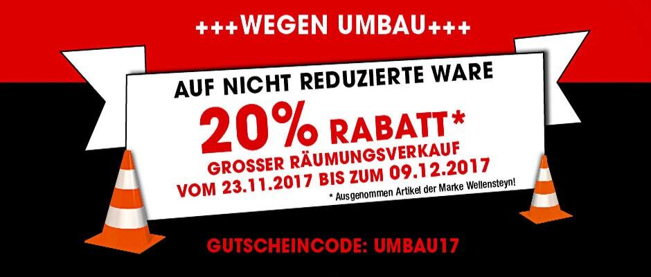 ++ 20% auf Alles außer reduzierte Ware & Wellensteyn Gutscheincode: UMBAU17 ++